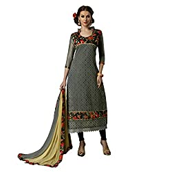 Resham Fabrics Grey Chanderi & Bhagalpuri Dress Material