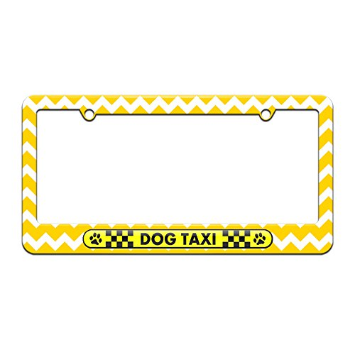 Graphics and More Dog Taxi - Paw Prints Checkered Logo - License Plate Tag Frame - Yellow Chevrons Design (Dog Taxi License Plate compare prices)