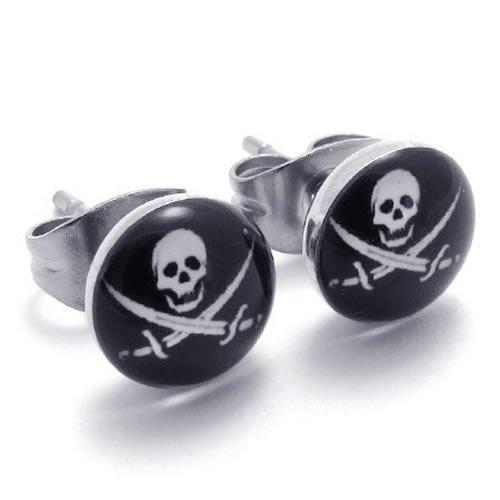 KONOV Jewelry Two Tone Biker Mens Stainless Steel Pirates Skull Stud Earrings, 2pcs, Color Silver Black