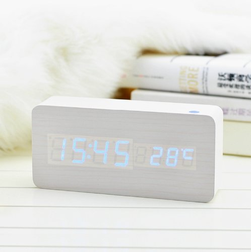 Kabb White Wooden Grain Design Blue Light Decorative Desktop Alarm Clock With Time And Temperature Display - Sound Control - Latest Generation (Usb/4Xaaa)