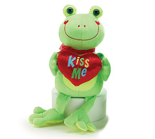 """Kiss Me"" Bright Green Plush Frog 10"" - Valentine's Day Heart Stuffed Animal - 1"