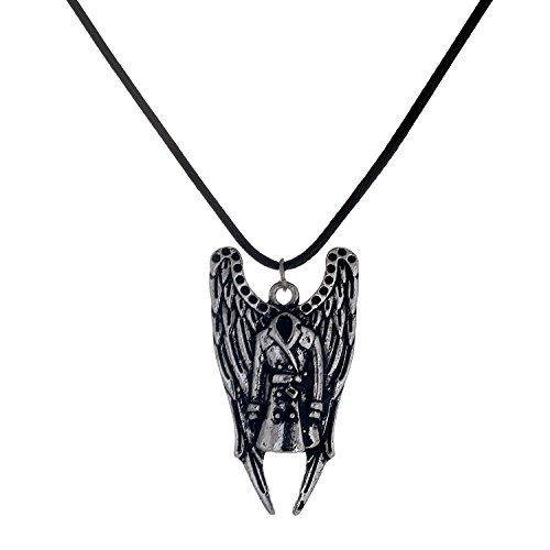 lureme® Supernatural Castiel Ala Antique Argento Trench Coat Pendant Collana (01003563)