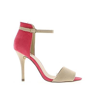 Sandales nude et corail à talons de 10,5 cm: Chaussures et