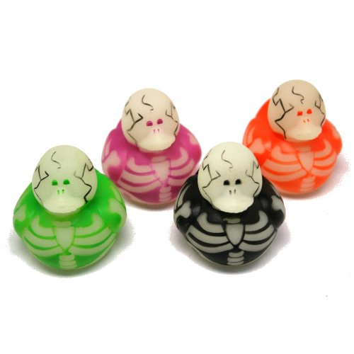12 pc Glow in the Dark Skeleton Rubber Duckys / Ducks - 1