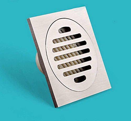 CU Drains de plancher de salle de bains moderne désodorisant toilette mince tube épaissie déplacement carré du drain de plancher en cuivre