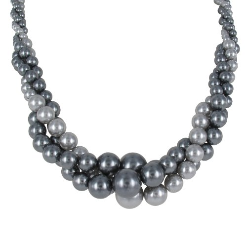 Light and Dark Grey Simulated Pearl Twist Necklace, 18+3