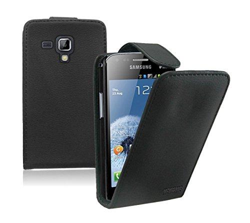 Membrane - Schwarz Klapptasche Hülle Samsung Galaxy Trend Plus (GT-S7580) - Flip Case Cover Schutzhülle