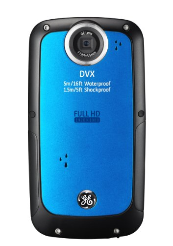 Ge Dvx Waterproof/Shockproof 1080P Pocket Video Camera (Aqua Blue) With 2Gb Sd Card