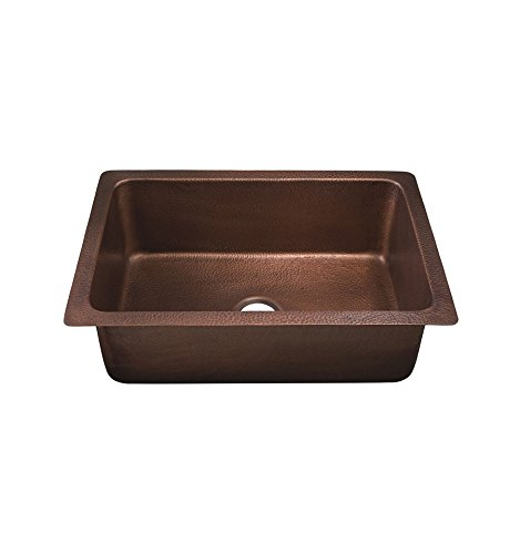 Thompson Traders KSU-3020AH Pisa Single Bowl Copper Kitchen Sink and Drain Hammered Medium Antique