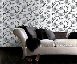 Fresco Watercolour Floral Wallpaper - Grey by New A-Brend