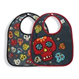 Sugar Booger Baby Waterproof Mini Bib Gift Set of 2. Dia de los Muertos Feeding Collection. ORE Originals.