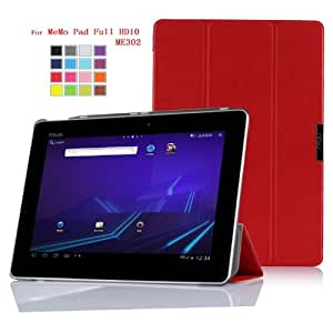 IVSO Slim Smart Cover Housse pour ASUS MeMO Pad FHD 10 ME302C Tablette with Auto Sleep/Wake Function (Rouge)