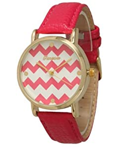 Women's Geneva Chevron Style Leather Watch - Red