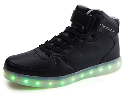 Comfortgo Kid High Top Classic LED Light Up Shoes Black 26 (Shoes For Kids Online)