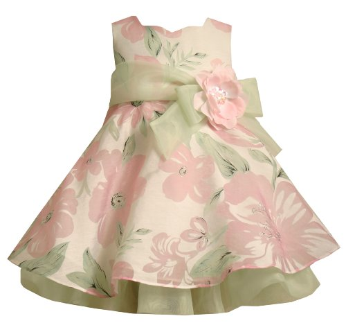 Bonnie Baby Allover Floral Dress, Pink, 18 Months