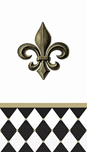 "Amscan Decorative Fleur De Lis Party Paper Hand Towels (16 Pack), 4-1/2 x 7-3/4"", Black/White"