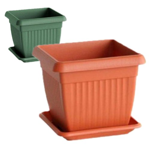 Terracotta colour square flower pot with saucer Terra 15x15 cm , 1.7 L, 2 colours available,