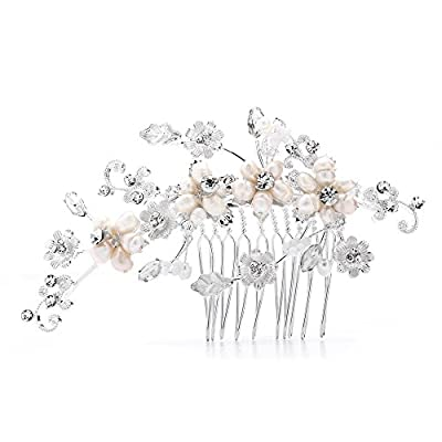 Mariell Romantic Freshwater Pearl and Crystal Bridal Comb - Light Silver Designer Wedding Headpiece