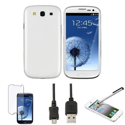 4in1 Zubehör Weiß Slim Tasche+USB+Klar Schutz für Samsung Galaxy S III S3 i9300