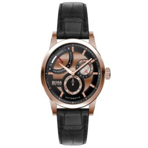 Hugo Boss 1512595 Automatic Rose Gold Power Reserver Indicator Leather Strap Men's Watch