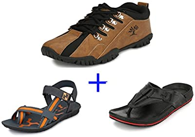 Afrojack Men's Pack Of 3 Items(Shoes+Sandal+Slipper)