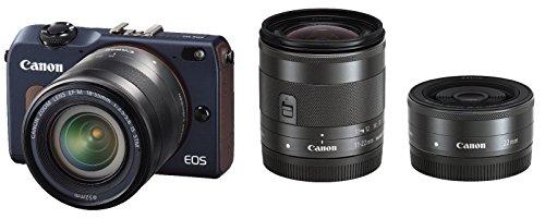 Canon ミラーレス一眼カメラ EOS M2 トリプルレンズキット (ベイブルー) EF-M18-55mm F3.5-5.6 IS STM EF-M22mm F2 STM EF-M11-22mm F4-5.6 IS STM付属 EOSM2BL-TLK