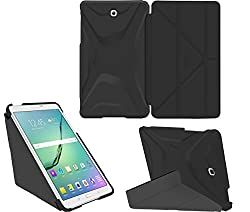 Galaxy Tab S2 8.0 Case, Samsung Galaxy Tab S2 8.0 case, rooCASE Origami Ultra Slim Shell Lightweight Tablet Sleep / Wake Stand Folio Cover - Black