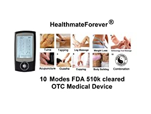 2014 Version 10 Modes Healthmateforever Super Value Tens Electrotherapy unit for pain management, light & portable Handfree Palm Size Digital Electronic Pulse Massager Unit for Electrotherapy Pain Management, as powerful as the one used in the chiropractor office, Acupuncture Physiotherapy Machine, It Has Backlit, Two Independent AB Channels, Independent Modes, Liftetime Warranty. This new model is based on Pro-8AB, but THREE NEW FEATURES: - modes and intensity are separately controlled in Channel A and Channel B. - it has two more custom made modes for legs and feet. It can treat two people or 2 targeted areas with different mode and intensity. It has double value just like using two TENS units to save lots of treatment time. Especially very helpful in multi pain relief, the injury recovery, post surgery recovery, muscle relaxation. - 80 minute timer setting. 100% Quality Guarantee, Lifetime Warranty.