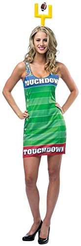 [Touch Down Football Costume Green Tank Dress Lady Ladies Sports Adult 4-10 Hat] (Touchdown Adult Costumes)