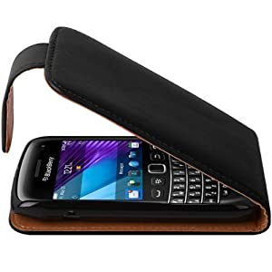 Shop4 Black Leather Flip Wallet Case for BlackBerry 9790 Bold Mobile Phone with Screen Protector