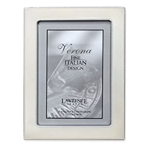Lawrence Frames 5 by 7-Inch Silver Metal Picture Frame with Pearl Enamel and Bead Border