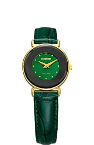 Jowissa Women's J3.031.S Elegance 24 mm Gold PVD Green Leather Watch