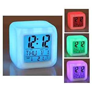 Cube 7 color LED CLOCK with LCD digital display and alarm clock , Calendar , Alarm function and ...
