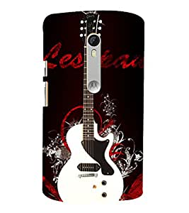 White Electronics Guitar 3D Hard Polycarbonate Designer Back Case Cover for Moto G Turbo Edition