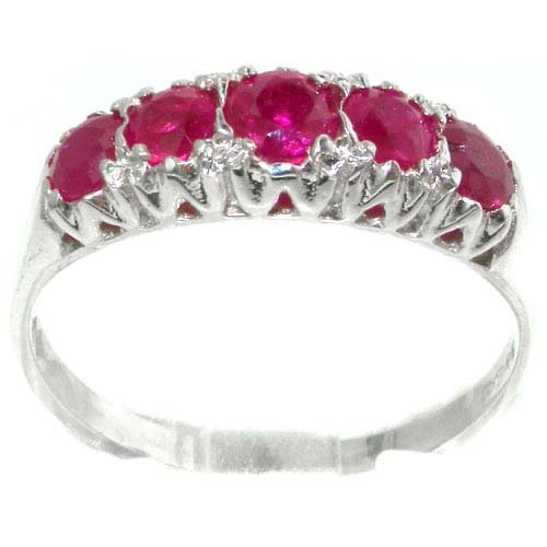 Solid English Sterling Silver Natural Ruby Vintage Style Eternity Ring - Size 11.75 - Finger Sizes 4 to 12 Available - Suitable as an Anniversary ring, Engagement ring, Eternity ring, or Promise ring