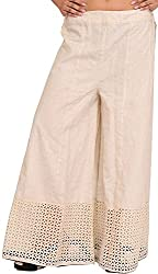 Exotic India Antique-White Khadi Palazzo Pants with Crochet Border - Off-White