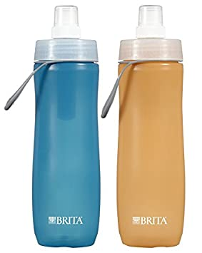 Brita Sport Water Filter Bottle, Twin Pack, Orange and Blue, 20 Ounce (Design May Vary)