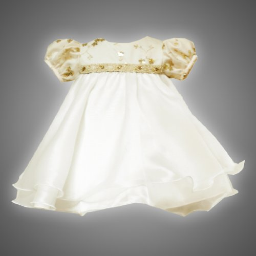 Size-6M, RRE-42120H 2-Piece IVORY METALLIC-GOLD SEQUIN BEADED WAISTLINE ORGANZA Special Occasion Flower Girl Easter Party Dress,H642120 Rare Editions NEWBORN