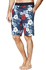Blue Harbour Hibiscus Print Quick Dry Swim Shorts [T28-7855B-S]