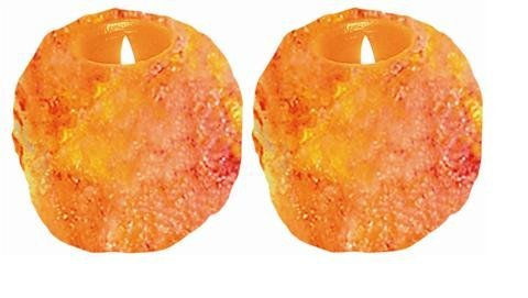 WBM 3002A Himalayan Ionic Natural Candle Holder 1 Hole - Set of 2