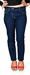 D-Nimes Women's Slim Fit DARK INDIGO Denim Jeans (34)