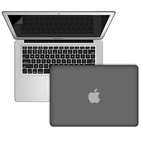 """Slickblue (TM) 3 in 1 Accessory Kit For Macbook Air 13"""" (A1369/A1466) - Rubberized Matte Frost Hard Case, Keyboard Skin & Screen Protector- Black"""