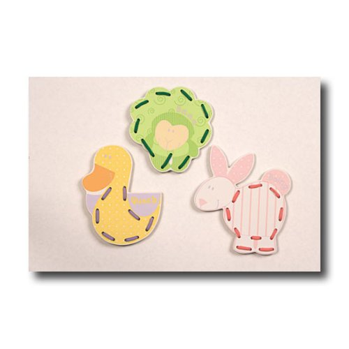 Learn With Me Lace Up Cards Set With Carrying Case, Includes Duck, Lamb And Rabbit