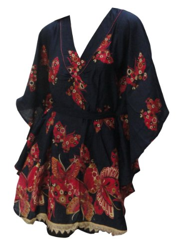 La Leela Navy Blue Butterfly Printed Beach Cover up
