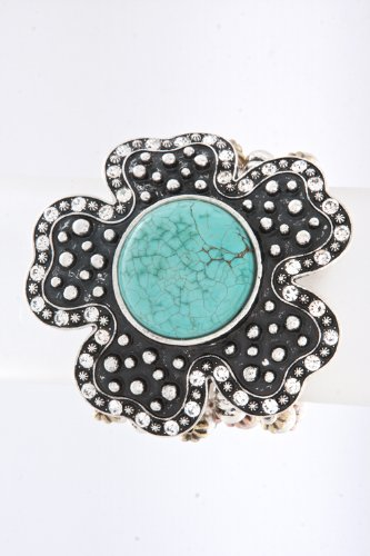 Trendy Fashion Jewelry Metal Flower Bead Bracelet By Fashion Destination | (Antique Multi)
