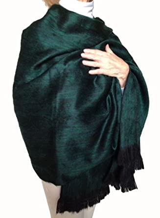 Super Soft Baby Alpaca Wool Reversible Shawl Wrap Cape Dark Kelly Green Color