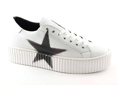 DIVINE FOLLIE 11-301 bianco scarpe donna sportive sneakers lacci pelle platform 37
