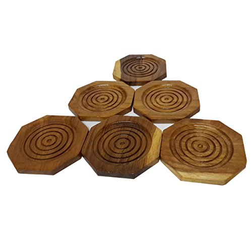 (2 Set, Set of 6) Amatahouse Octagon Handmade Teak Wood Coasters for Drink Saucer Set Home Decor, Indoor & Outdoor
