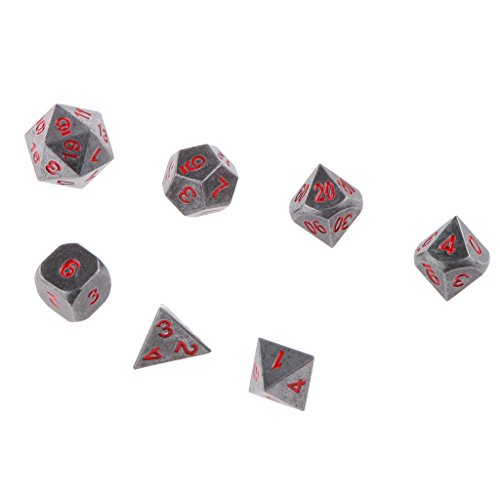 Set 7pcs Dés Multi-faces en Alliage Dices de Jeux TRPG Dungeons & Dragons D4-D20 (Divers) - #3