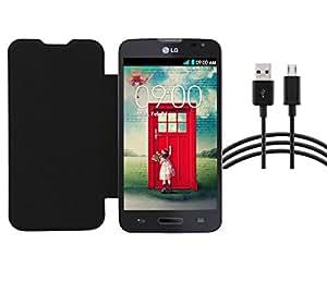 RealDealz Durable PU Leather Flip Cover For Lg Nexus L70 D325 (Black)+ DATA CABLE COMBO SET